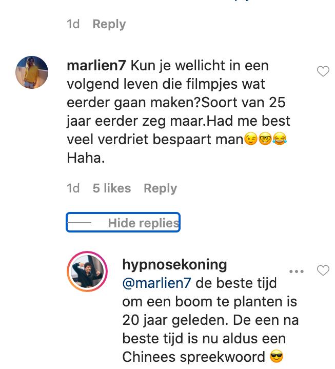 instagram reactie hypnonsens